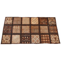 Batik Cotton Print Fabric Brown Black & White Textile Panel Java, 1960s