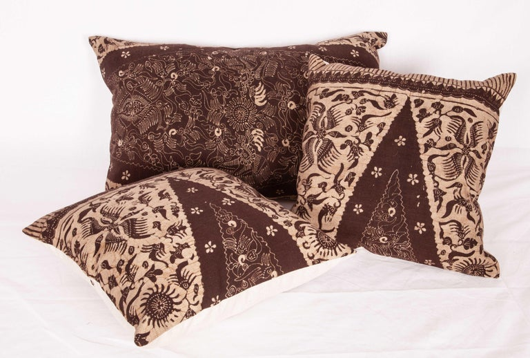 Tribal Batik Pillow Cases Fashioned from a Vintage Indonesian Batik For Sale