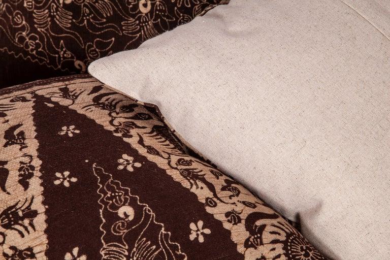 Cotton Batik Pillow Cases Fashioned from a Vintage Indonesian Batik For Sale