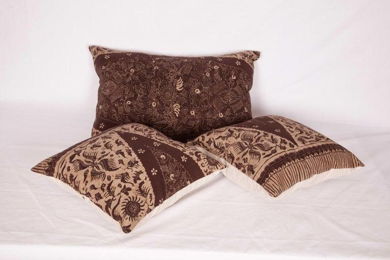Batik Pillow Cases Fashioned from a Vintage Indonesian Batik For Sale 1