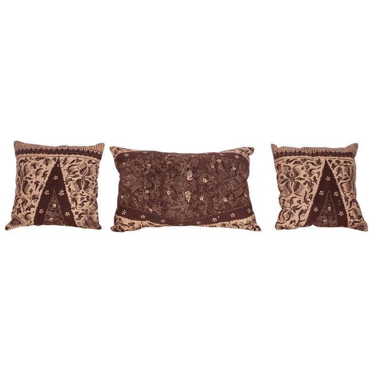 Batik Pillow Cases Fashioned from a Vintage Indonesian Batik For Sale