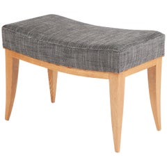 Batistin Spade, Oak Upholstered Bench with Curved Frame, France, circa 1946