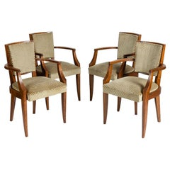 Batistin Spade, Set of Four Varnished Oak Armchairs, France, circa 1940