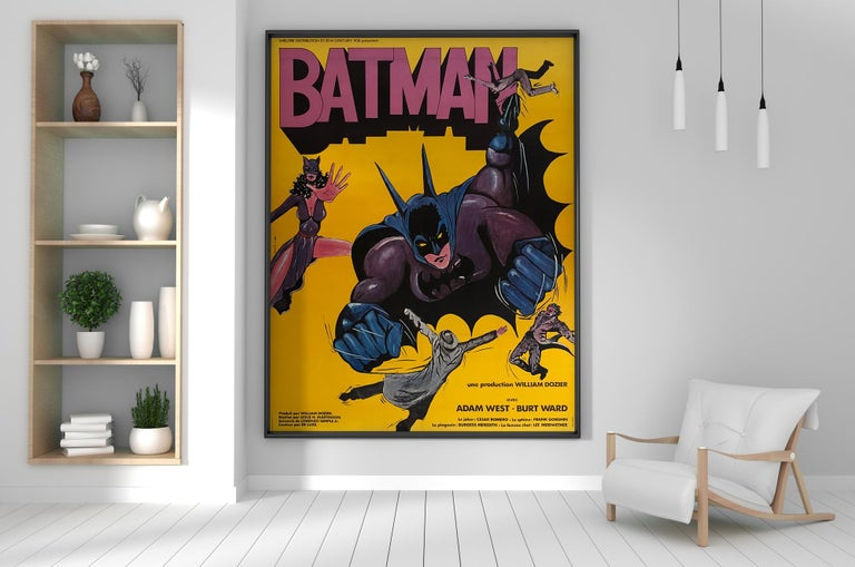 Fabulous original Batman re-release French film poster from early 1970s. Superb artwork and colors on a scale that packs a serious Kapow!