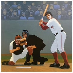 Batter Up at Fenway, Original Painting by Lynn Curlee
