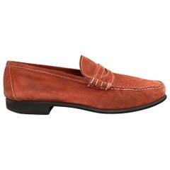 BATTISTONI Size 7.5 Brick Contrast Stitch Suede Slip On Penny Loafers