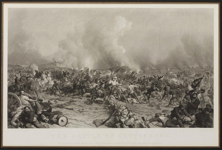 This is a significant 1872 engraving of the Battle of Gettysburg, by Peter F. Rothermel. Rothermel was commissioned by the state of Pennsylvania in 1866 to make a painting of the battle, and this print, engraved several years later, is after that