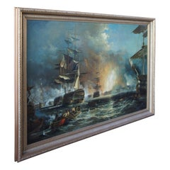 Battle of Quiberon Monumental British Maritime Nautical Naval Oil Painting