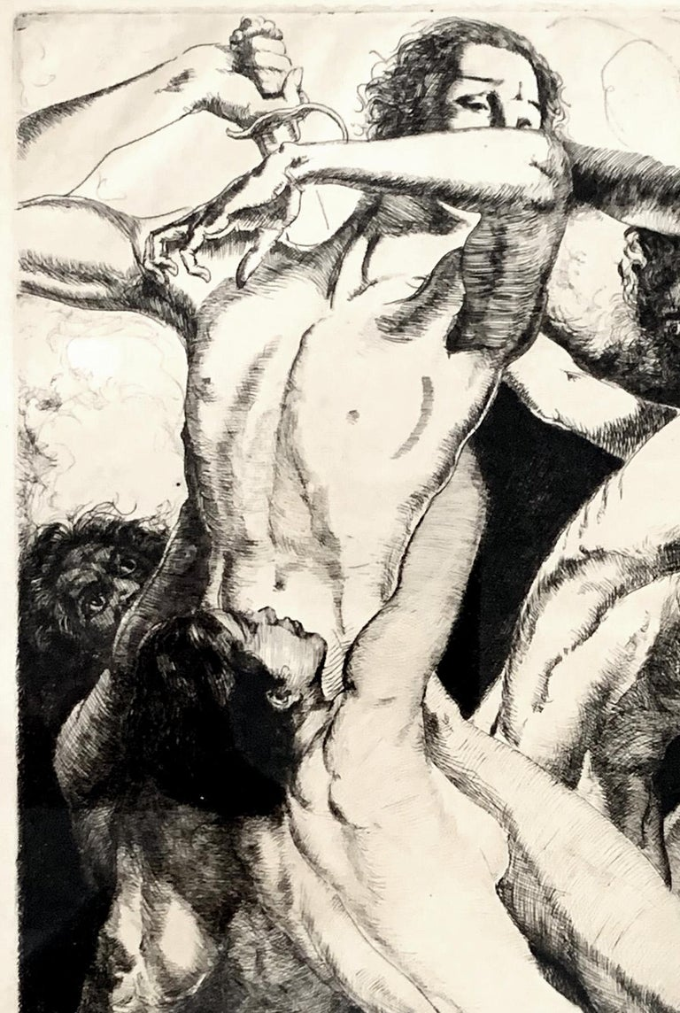 Depicting a complex interplay of lithe nude figures in struggle, the upper male figure holding a large sword aloft, this rare print was made by the famed artist and illustrator, Willy Pogany, in the 1920s or 1930s. Pogany was born and educated in
