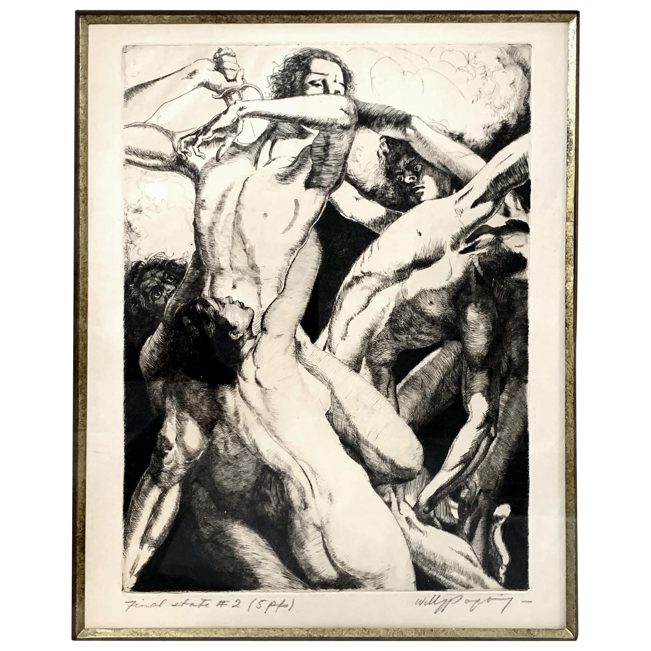 """Battle of the Nudes,"" Rare Art Deco Signed Print by Willy Pogany"