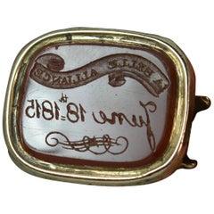 Battle of Waterloo 1815 La Belle Alliance Gold Carnelian Intaglio Seal Pendant