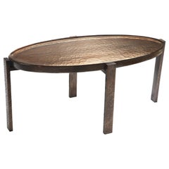 Battuto Coffee Table, Cast Silver-Leaf Murano Glass and Patinated Bronze