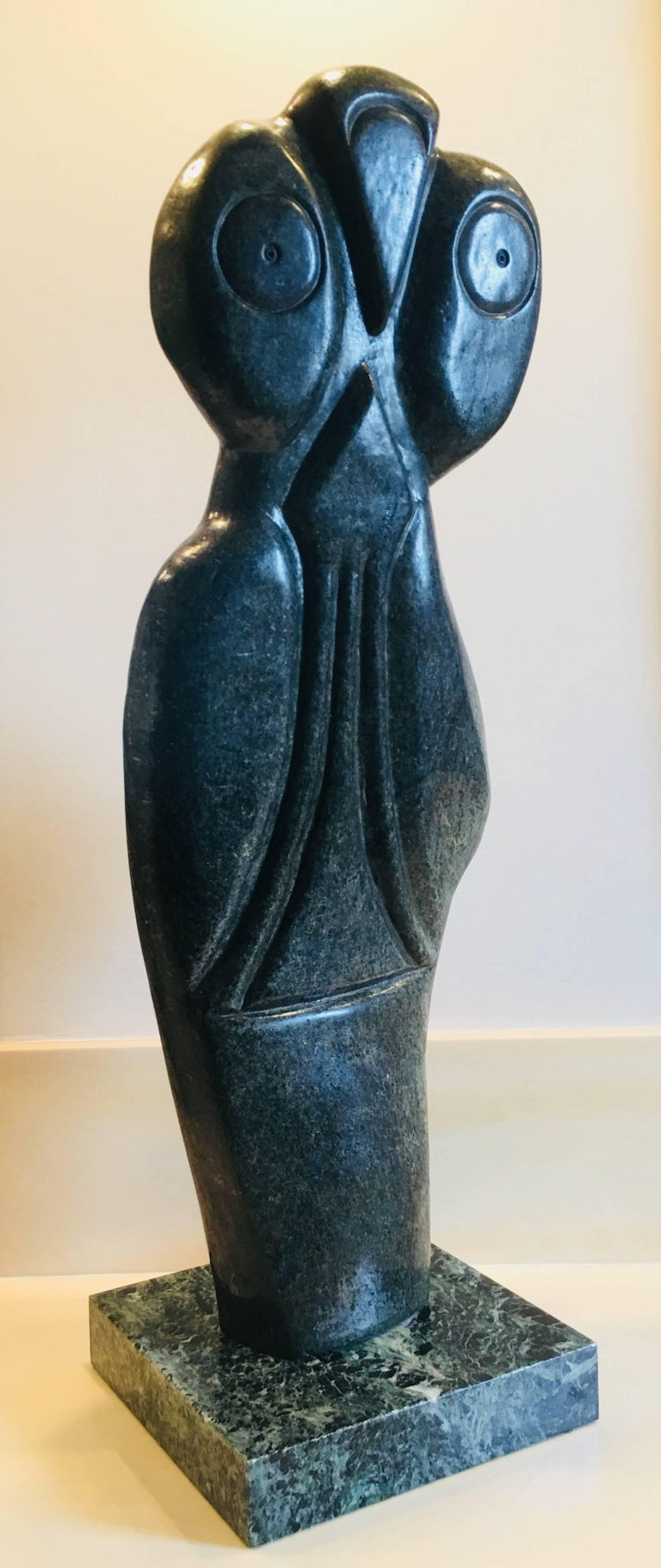 Bauden Khoreay's, carved Stone Sculpture of Owl, Malawi, Africa, circa 1970 For Sale 10