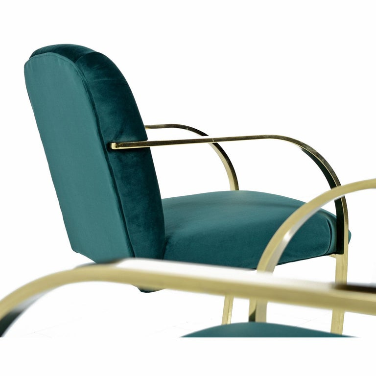 Baughman Style Forest Green Velvet Flat Bar Cantilever Brass Armchair Set of 2 In Excellent Condition For Sale In Saint Petersburg, FL