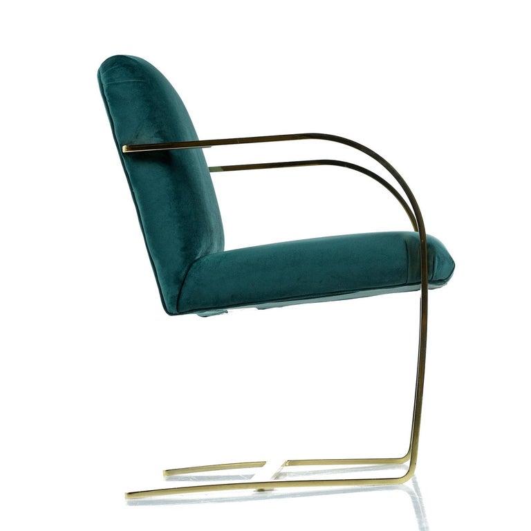 American Baughman Style Forest Green Velvet Flat Bar Cantilever Brass Armchair Set of 2 For Sale