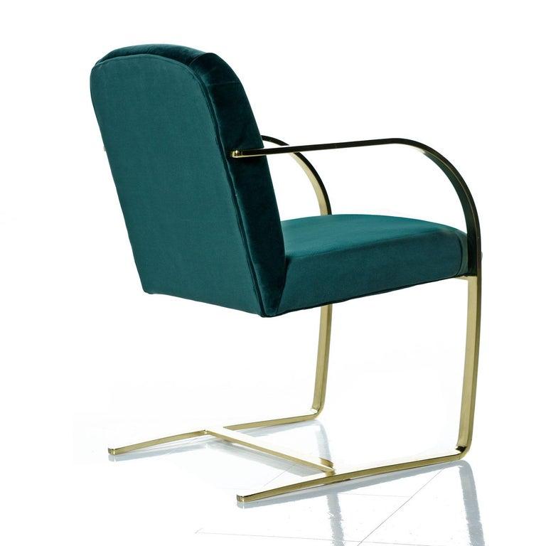 Mid-Century Modern Baughman Style Forest Green Velvet Flat Bar Cantilever Brass Armchair Set of 2 For Sale