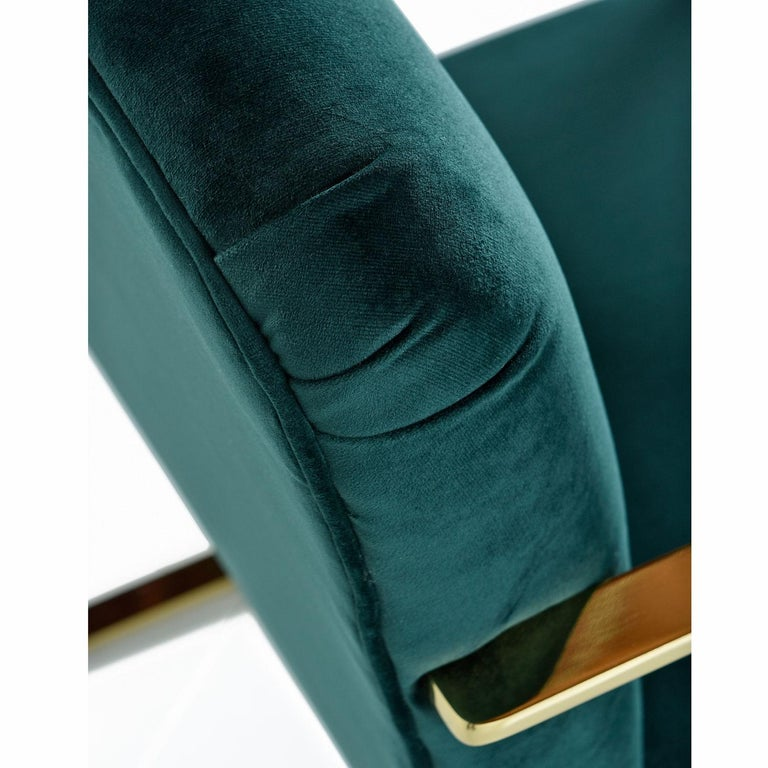 Late 20th Century Baughman Style Forest Green Velvet Flat Bar Cantilever Brass Armchair Set of 2 For Sale