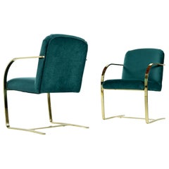 Baughman Style Forest Green Velvet Flat Bar Cantilever Brass Armchair Set of 2