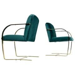Baughman Style Forest Green Velvet Flat Bar Cantilever Brass Armchair Set of 2