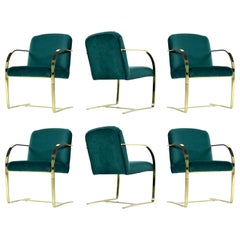 Baughman Style Forest Green Velvet Flat Bar Cantilever Brass Armchair Set of 6