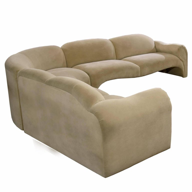 American Baughman Style Hollywood Regency Modern Sectional Sofa Lounge Chair and Ottoman For Sale