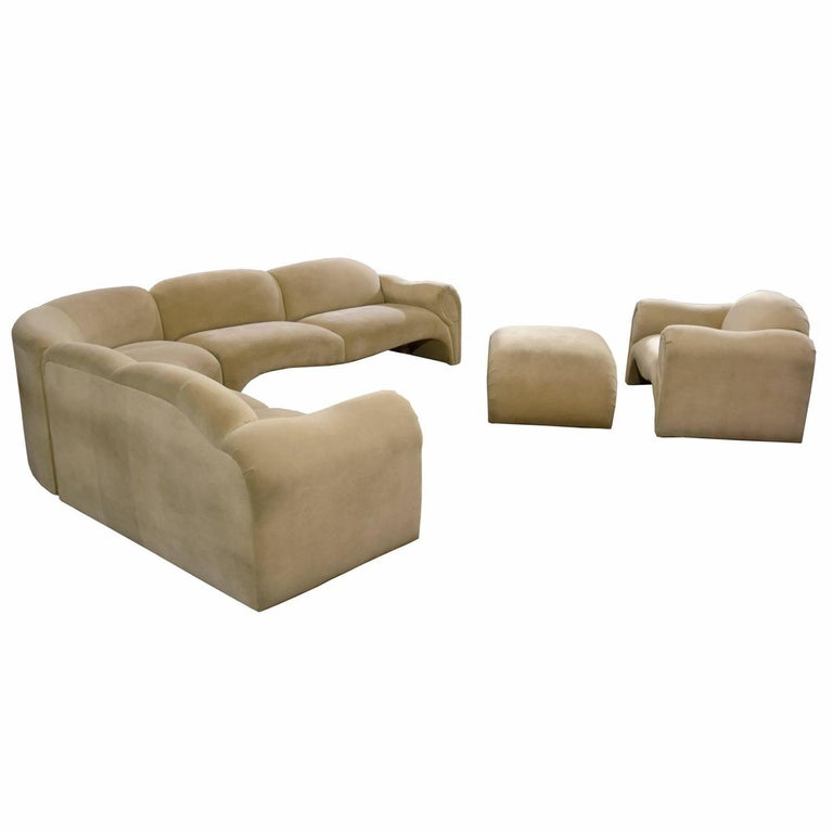 Baughman Style Hollywood Regency Modern Sectional Sofa Lounge Chair and Ottoman In Excellent Condition For Sale In Saint Petersburg, FL