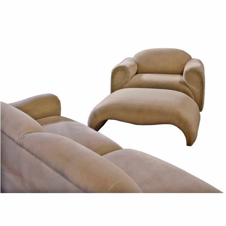 Late 20th Century Baughman Style Hollywood Regency Modern Sectional Sofa Lounge Chair and Ottoman For Sale