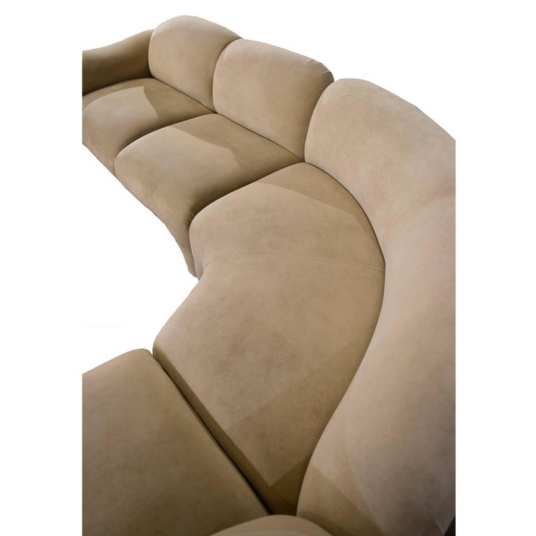 Fabric Baughman Style Hollywood Regency Modern Sectional Sofa Lounge Chair and Ottoman For Sale