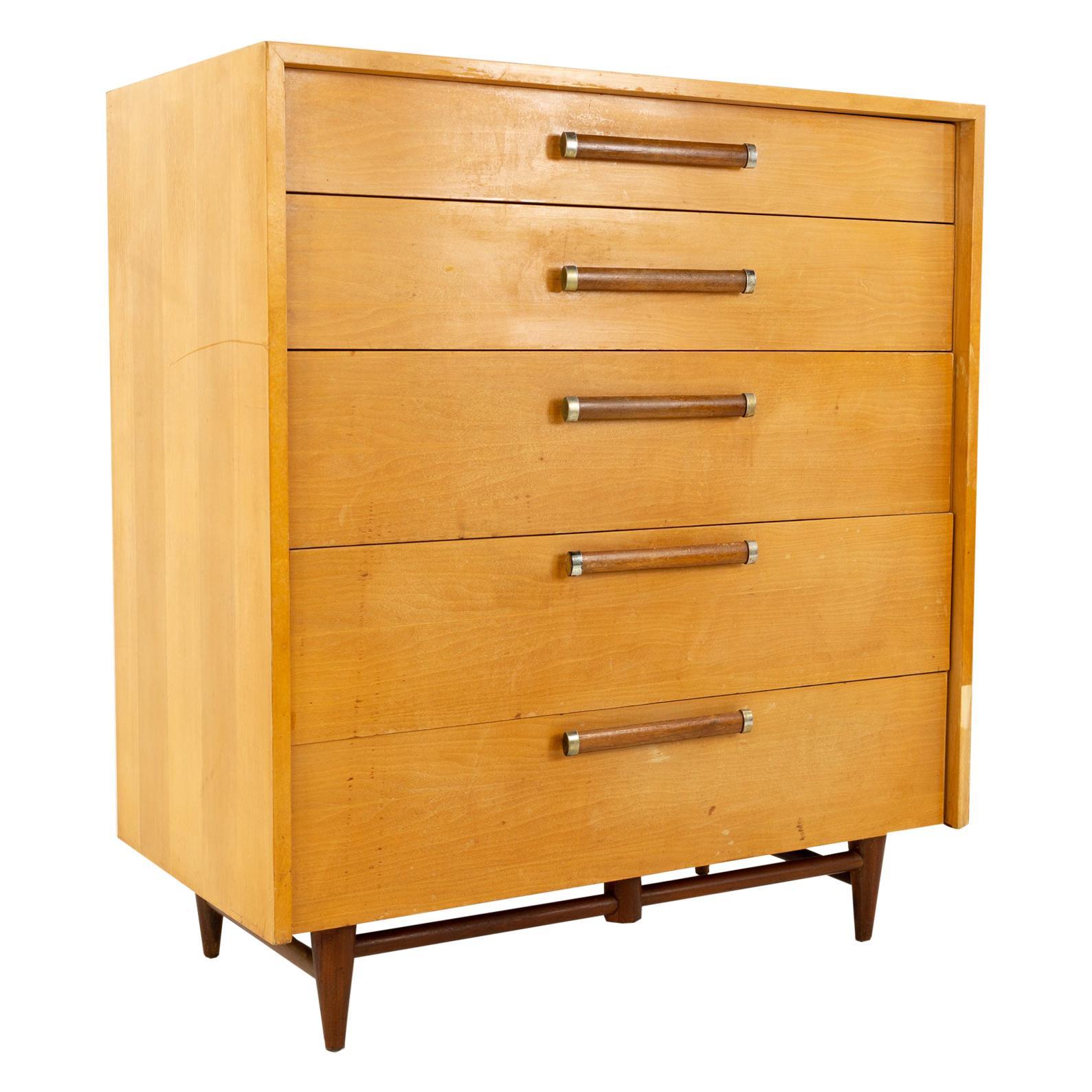 Baughman Style Mid Century 5-Drawer Highboy Dresser