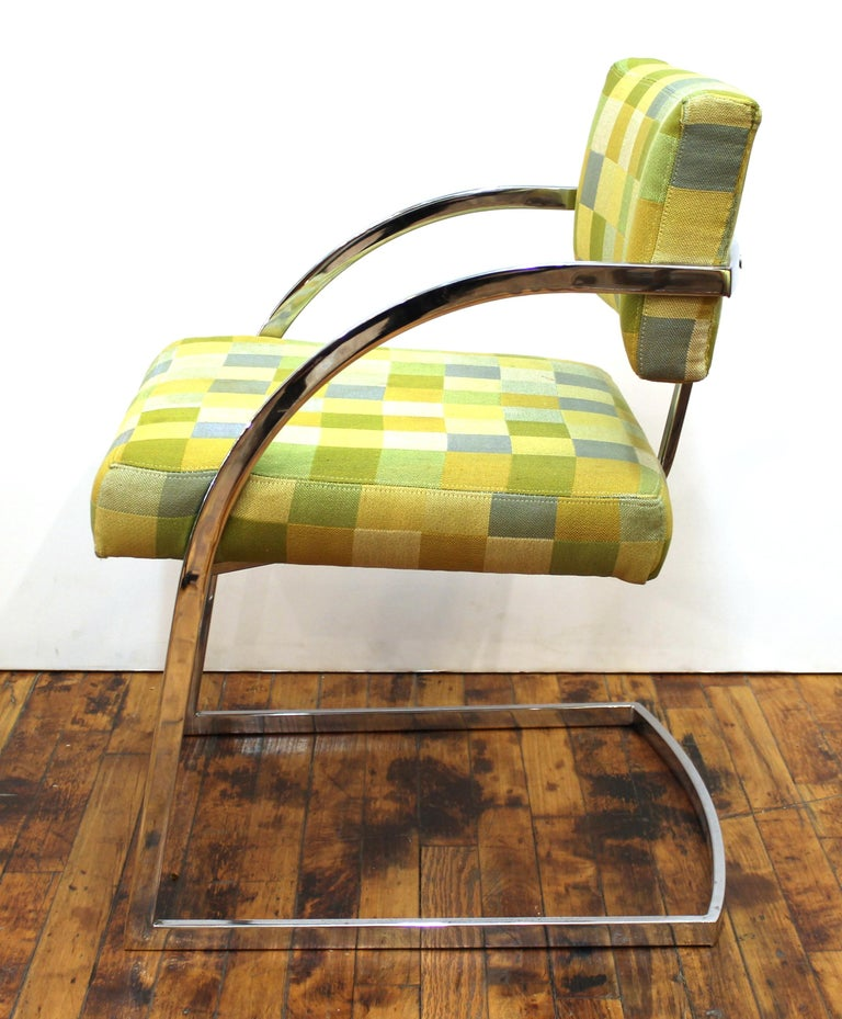 Late 20th Century Baughman Style Modern Chromed Metal Dining Chairs For Sale