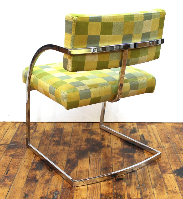 Upholstery Baughman Style Modern Chromed Metal Dining Chairs For Sale