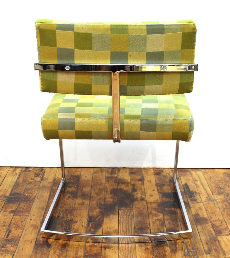 Baughman Style Modern Chromed Metal Dining Chairs For Sale 1