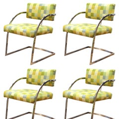 Baughman Style Modern Chromed Metal Dining Chairs