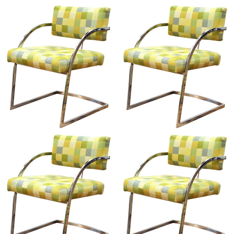 Baughman Style Modern Chromed Metal Dining Chairs For Sale