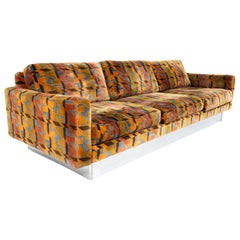 Baughman Style Selig Midcentury Multi-Color Houndstooth and Chrome Floating Sofa