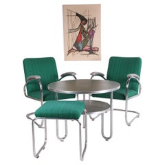 Bauhaus Armchairs Bridge with Table and Footstool Made by Mauser, Germany