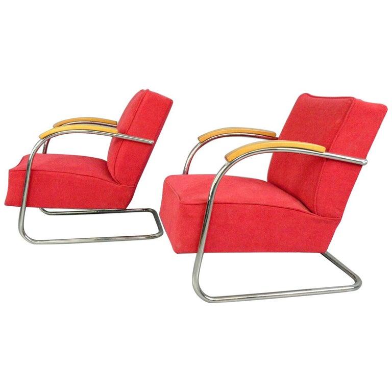 Bauhaus Armchairs by Mucke Melder, circa 1930s For Sale