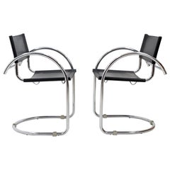 Bauhaus Armchairs in Black Leather and Chrome, 1960s