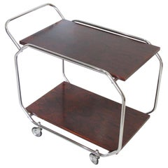 Bauhaus Art Deco 1930s Modernist Rolling Bar Cart in Chrome and Rosewood
