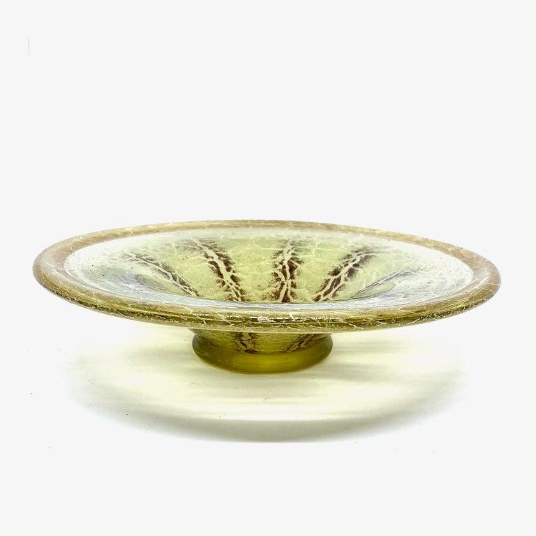Mid-Century Modern Bauhaus Art Deco 'Ikora' Art Glass Bowl by WMF in Germany, circa 1930s For Sale