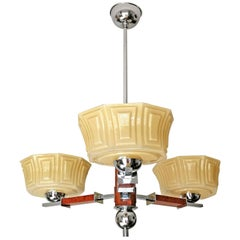 Bauhaus Art Deco Opaline Amber Glass Shades Chrome and Wood Chandelier