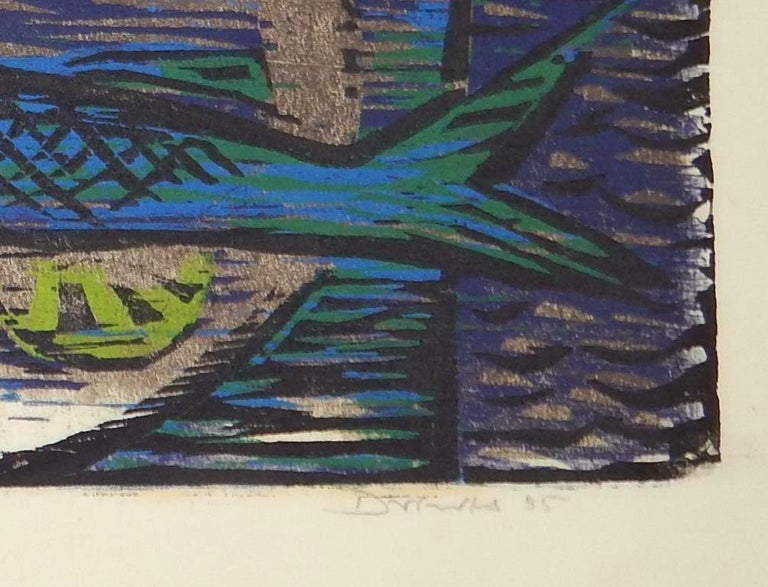 Werner Drewes Bauhaus Artist Color Woodblock, 1955, Still Life with Blue Fish In Excellent Condition In Phoenix, AZ