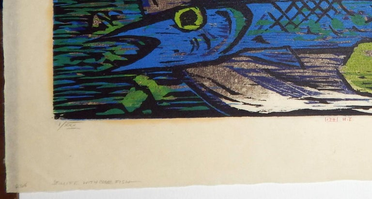 20th Century Werner Drewes Bauhaus Artist Color Woodblock, 1955, Still Life with Blue Fish