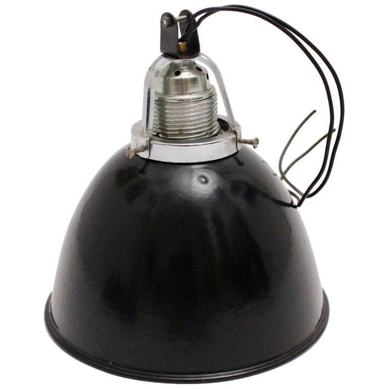 Bauhaus Vintage Black and White Email Hanging Lamp, 1920s, Germany