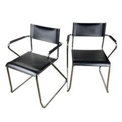 Bauhaus Black Chrome Tubular Director Arm Chairs, a Pair after Marcel Breuer