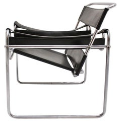 Bauhaus Black Leather Vintage Lounge Chair Wassily by Marcel Breuer Germany