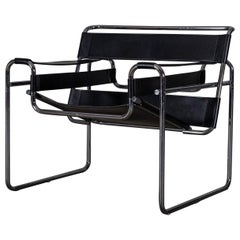 Bauhaus Black Leather Wassily Chair by Marcel Breuer, 1960s