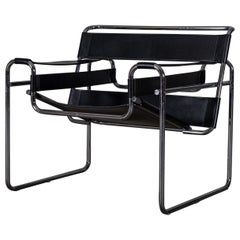 Bauhaus Black Leather Wassily Chair by Marcel Breuer, 1970s