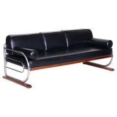 Bauhaus Black Tubular Chrome Sofa by Robert Slezák, Design by Thonet, 1930s
