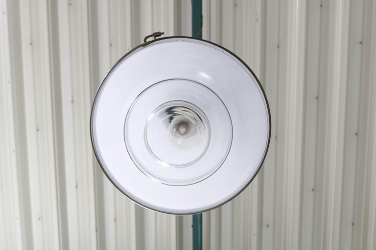 Bauhaus Brass and Opaline Pendant Lamp by Otto Müller for Sistrah Licht, 1930s For Sale 5